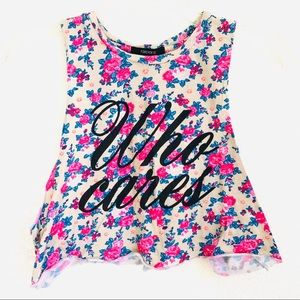 Forever 21 valentine floral muscle tee crop top